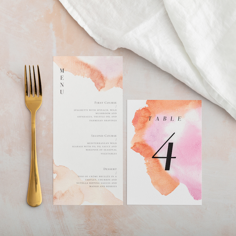 Watercolour Coral table number - Atelier Papel