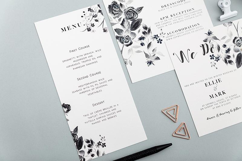 Winter Bouquet Wedding menu - Atelier Papel