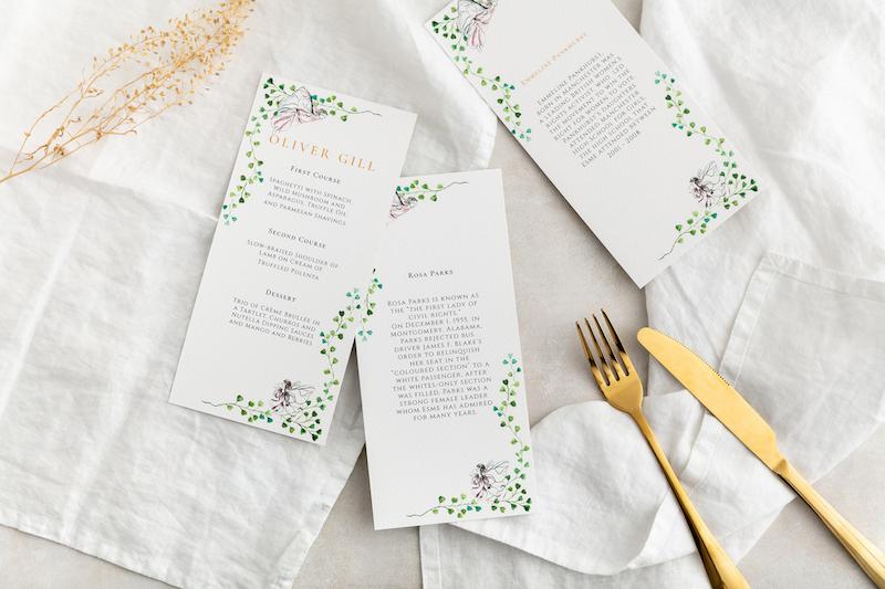 Midsummer nights dream Wedding menu - Atelier Papel