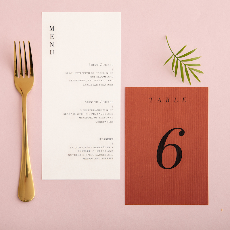 Terracotta Wedding menu - Atelier Papel